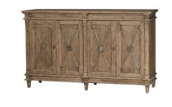 66 L Gastone Sideboard Solid Old Wood Grey Finish 4 Doors With Metal Detail