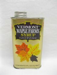 Fairfield Vermont Maple Farms Syrup Tin 1 Half Pint Vtg Pancake Waffle Old Can