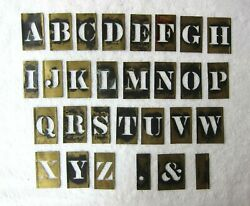 Vintage Set Of 3 Tall Brass Alphabet Stencils, All 26 Letters + 3