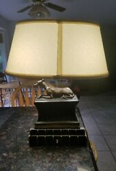Antique Whippet Greyhound Dog Sculpture Book Library Table Lamp Rare