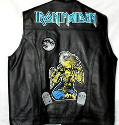 Iron Maiden Custom Leather Biker Motorcycle Vest Black Concealed Carry W/pockets