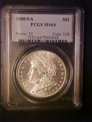 1880/9-s Morgan Silver Dollar - Pcgs Ms64 - Great Variety Coin -aa908qscx2