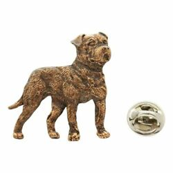American Bulldog Pin Antiqued Copper Lapel Pin