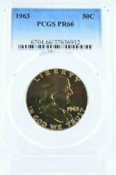 Naturally Toned Yellow/gold Coin 1963 Pr66 Pcgs Franklin Silver 50c Proof Rare