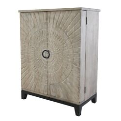 47 T Radial Pattern Bar Cabinet Carved Textural Detail Doors Solid Mango Wood