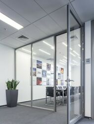 Cgp Office Partition System, Glass Aluminum Wall 10' X 9' W/door, Clear Anodized