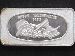 1973 Happy Thanksgiving Silver Art Bar Glm-8 Great Lakes Mint P1089