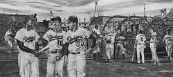 La Dodgers Ron Cey Painting By Topps Baseball Artist Dave Hobrecht - Canvas
