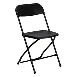 50 Black Plastic Folding Chairs Indoor Outdoor All Events 300 Lb. Capacity