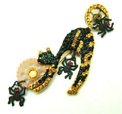 Halloween Scary Cat Spider Pin Citrine Rhinestone Crystal Brooch OOAK DazzleCity