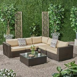 Kyra Outdoor 5 Seater Wicker Sectional Sofa Set With Sunbrella Cushions