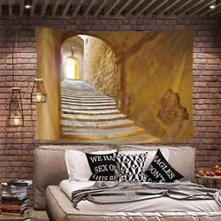 Ancient Aisle Stairs Tapestry Brown Sunlight Arch Wall Hanging Home Dorm Decor