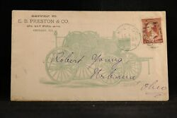 Illinois Chicago 1884 Preston Horse Pulled Fire Dept Advertising Cover + Letter