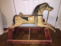 Hand Carved Wooden Ride On Rocking Horse Late 1800s Toy Antique Shabby Chic Wood
