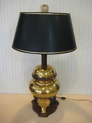 Vintage Underwriters Laboratories Chinese Heavy Brass Urn Table Lamp, 27 1/2 T