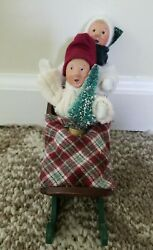 Byers Choice Kindle Boy With Christmas Tree In A Sled Extra Boy