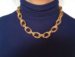 BLUE NILE 14kt Gold DOULE LINK STATEMENT Necklace wRope BoxPapers MSRP 3950