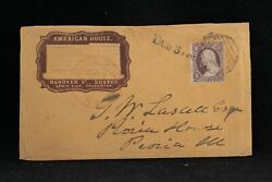 Ma: Boston ca.1858 #26 American House SCARCE BROWN Cameo Advertising Cover
