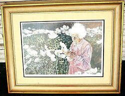 Vtg Portrait Of Old Woman With Wild Flowers Numbered Ll, Signed John Marsh Lr