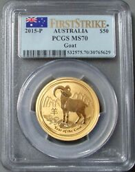 2015 P Gold Australia 50 Lunar Year Of The Goat Pcgs Mint State 70 First Strike