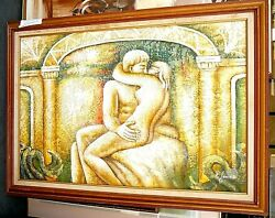 Vintage Painting Of Two Nude Lovers Embracing Kissing Framed And Signed J James Lr