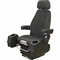 K&M High-Back Suspension Seat with Control Pods - Black/Gray, Model# 8254