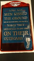 Vintage Johnson Outboard Motors Tin Sign - Kissed Outboard Advertisement Rare