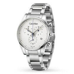Calvin Klein K8s27146 Chronograph Stainless Steel 42mm Menand039s Watch Swiss Made