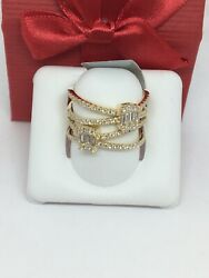 14k Yellow Gold Natural Diamond Wide Ring