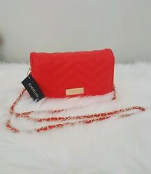 Bebe Red Clutch Handbag With Gold Chain And Red Stitching $39.00