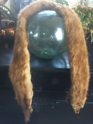 Vintage Brown Mink Stole 2 Whole Pelts W Heads And Tails 50 Long