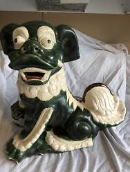 Large Ceramic Chinese Foo Dog Statue Figurine Asian Collectible Green/white