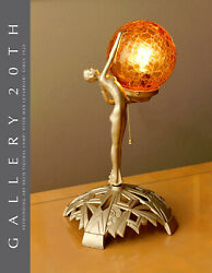 Superb Art Deco Nude Figural Lamp After Max Le Verrier Fayral Bouval 1925 30s