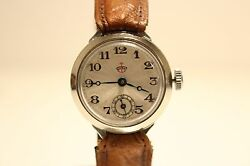 Art Deco Ww2 Collectible Rare Nos Small Germany Menand039s Mechanical Watchthiel