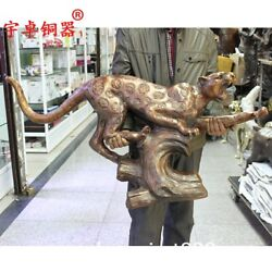 110 Cm China Ancient Pure Bronze Copper Catamount Cougar Leopard Panther Statue