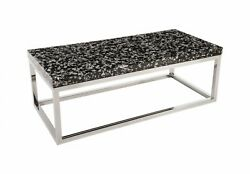 48 L Coffee Table Captured Silver Flake Rectangle With Stainless Steel Co 1294