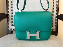 Hermes Vert Vertigo Green constance 24 Evercolor Silver Hardware Bag Purse NIB