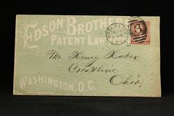 Dc Washington 1884 Edson Patent Attorneys Allover Green Advertising Cover