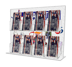 8 Pocket Vertical Business Card Holder Display Stand Counter Top Acrylic Qty 12
