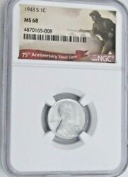 1943 S Lincoln Wheat Cent/penny - Ngc Ms 68 Steel 5-008 - Guide 4300.00