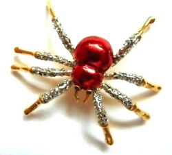 Vtntage Red Spider Pin Web Rhinestone Crystal Bug Insect Old Stock Halloween