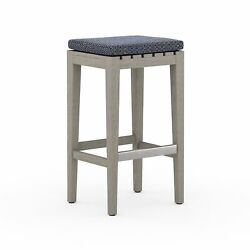 30.25 T Set Of 2 Outdoor Bar Stool 100 Olefin Navy Seat Hand Crafted Teak Base