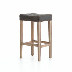 30.25 Giona Bar Counter Stool Top Grain Leather Parawood Iron Destroyed Black