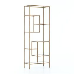 83 H Colombano Bookcase Iron Glass Solid Antique Brass Finish Modern Design