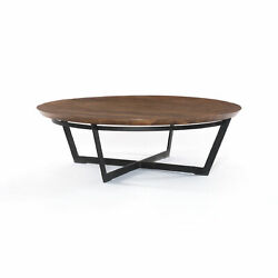 48 L Coffee Table Light Tanner Brown Iron Mixed Reclaimed Wood Rustic F