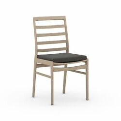 19.75 W Set Of 2 Luka Outdor Dining Chair 100 Olefin Hand Crafted Teak Frame