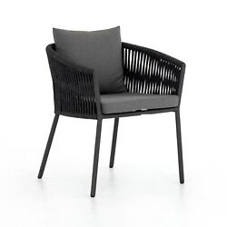 24 W Set Of 2 Contemporary Outdoor Dining Chair 100 Olefin Cushions Aluminum