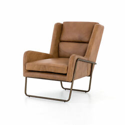 33.5 Ciriaca Chair Patina Copper Occasional Top Grain Leather Iron Aged Brass