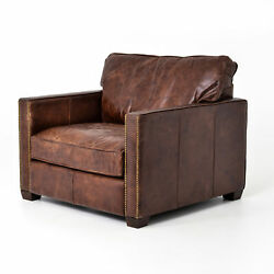 40 L Ami Club Chair Occasional Top Grain Leather Solid Ash Iron Cigar Antique