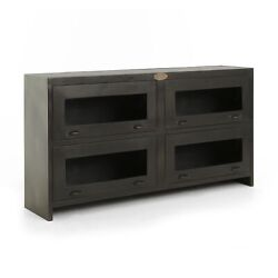 64 L Media Cabinet Antique Solid Iron Console Mango Wood Vintage Silver